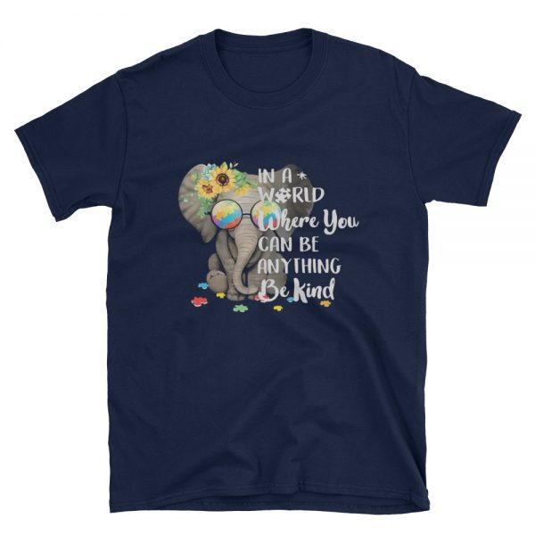 Autism Elephant in a world Short Sleeve Unisex T Shirt