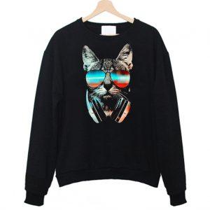 Cool Cat Wear Glasses Cat Lover Sweatshirt