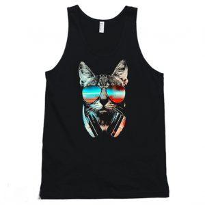 Cool Cat Wear Glasses Cat Lover Tanktop