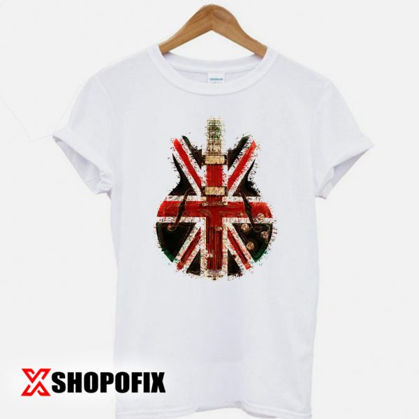 Oasis Distressed Union Jack Guitar T-shirt