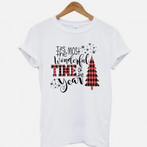 Most Wonderful Time Of The Year Buffalo Plaid Christmas Trees T-shirt