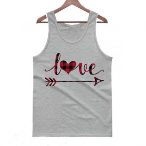 Plaid Love Heart and Arrow Valentine's Day Tanktop
