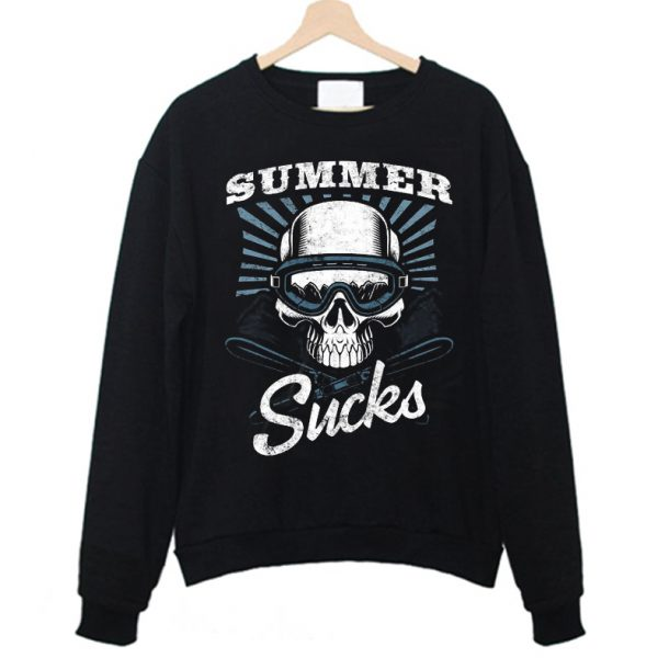 Summer Sucks Skier Skull Funny Sweatshirt
