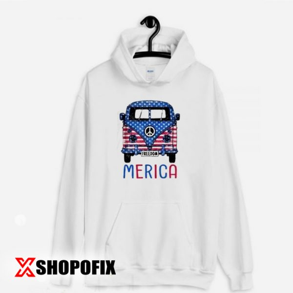 Merica Bus Americana Independence Day Hoodie