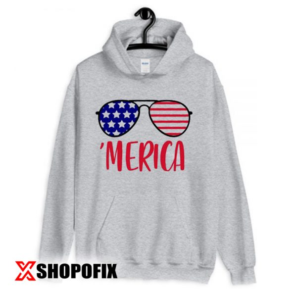 Merica Glasses Independence Day Hoodie