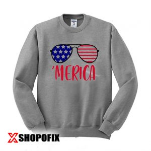 Merica Glasses Independence Day Sweatshirt 300x300 - Home