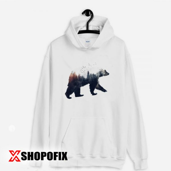 bear and forest drawing hoodie