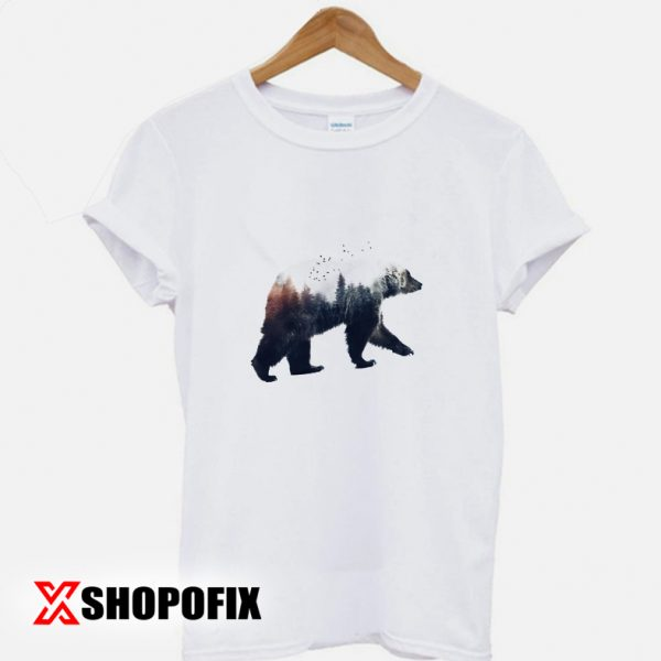 bear and forest drawing tshirt